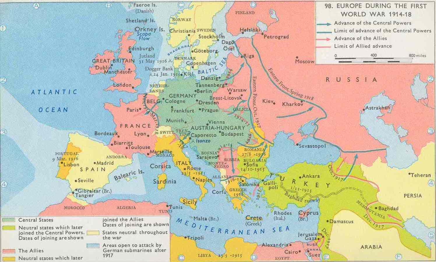 Europe WW1 1914 – 1918